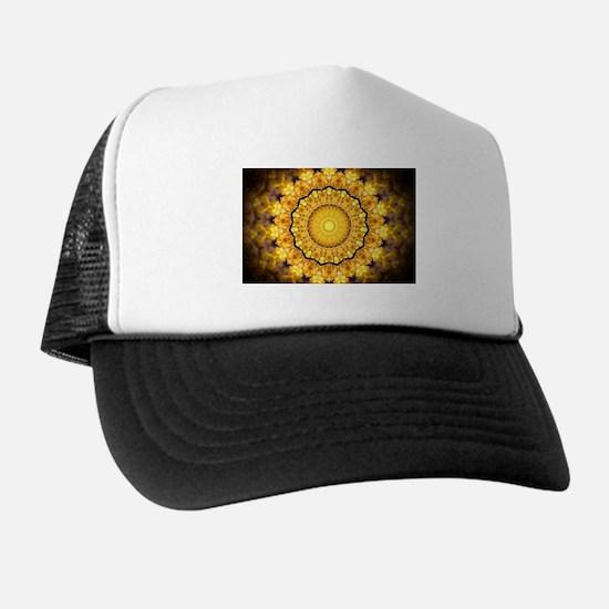 Golden Petal Mandala Kaleidoscope Hat