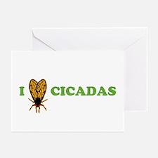 I Love Cicadas Greeting Cards (Pk of 10)