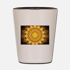 Golden Petal Mandala Kaleidoscope Shot Glass