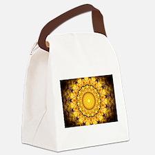 Golden Petal Mandala Kaleidoscope Canvas Lunch Bag