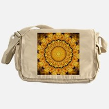 Golden Petal Mandala Kaleidoscope Messenger Bag