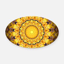 Golden Petal Mandala Kaleidoscope Oval Car Magnet