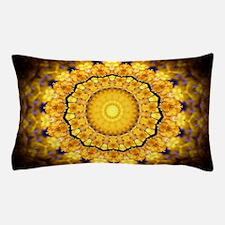 Golden Petal Mandala Kaleidoscope Pillow Case