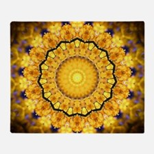 Golden Petal Mandala Kaleidoscope Throw Blanket