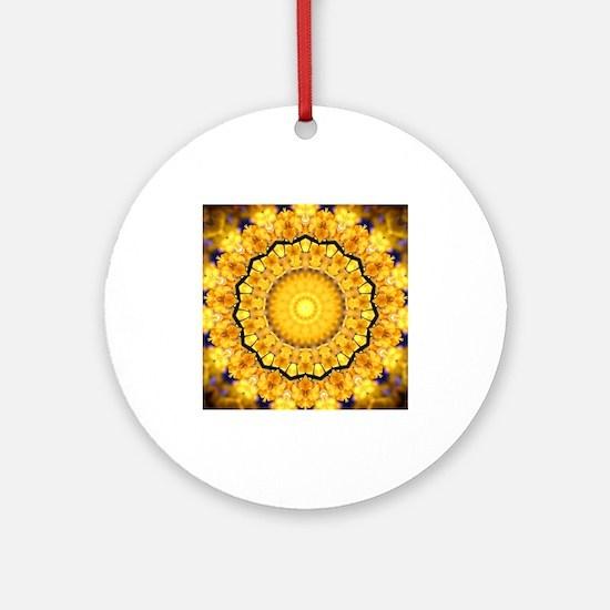 Golden Petal Mandala Kaleidoscope Ornament (Round)