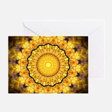 Golden Petal Mandala Kaleidoscope Greeting Cards