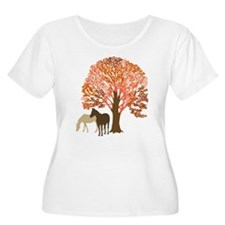 Autumn Equestrian Horses Plus Size T-Shirt
