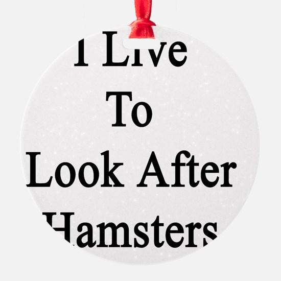 I Live To Look After Hamsters  Ornament