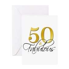 50 and Fabulous Gold Black Greeting Cards