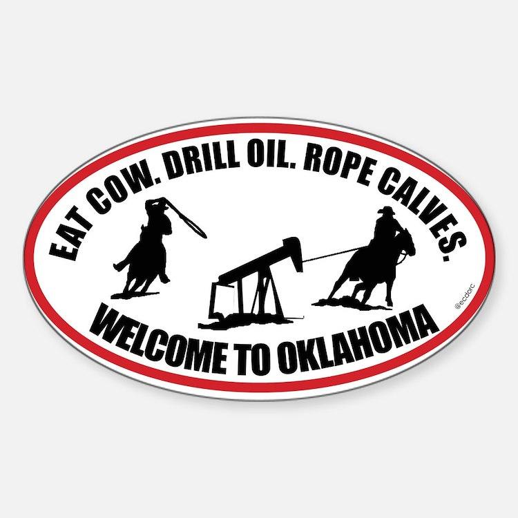 Oklahoma Team Roper Sticker (Oval)