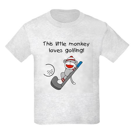 Little Monkey Loves Golfing Kids Light T-Shirt