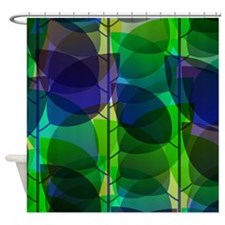 Modern Green Blue Holographic Abstract Leaf Shower