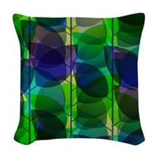 Modern Green Blue Holographic Abstract Leaf Woven
