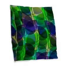 Modern Green Blue Holographic Abstract Leaf Burlap