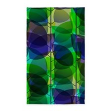 Modern Green Blue Holographic Abstract Leaf 3'x5'