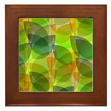 Modern Holographic Abstract Leaf Framed Tile