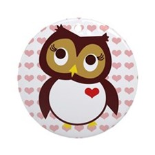 Whoo Loves You w/ Hearts Round Ornament