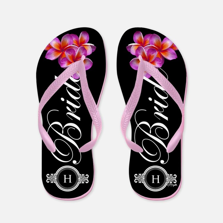 Tropical Bride Monogram Flip Flops