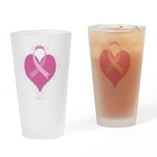 Cute Breast cancer pink heart ribbon Drinking Glass