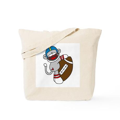 Sock Monkey Football Tote Bag