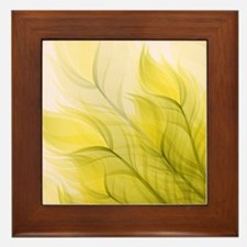 Beautiful Feather Golden Yellow Leaf Framed Tile