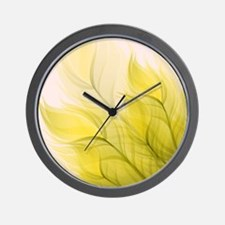 Beautiful Feather Golden Yellow Leaf Wall Clock