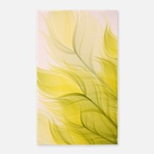 Beautiful Feather Golden Yellow Leaf 3'x5' Area Ru