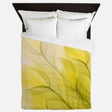 Beautiful Feather Golden Yellow Leaf Queen Duvet