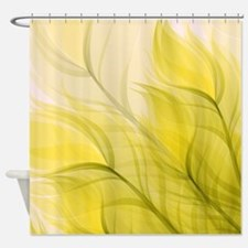 Beautiful Feather Golden Yellow Leaf Shower Curtai