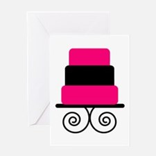 Hot Pink and Black Cake Greeting Cards