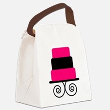 Hot Pink and Black Cake Canvas Lunch Bag