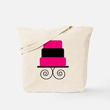 Hot Pink and Black Cake Tote Bag