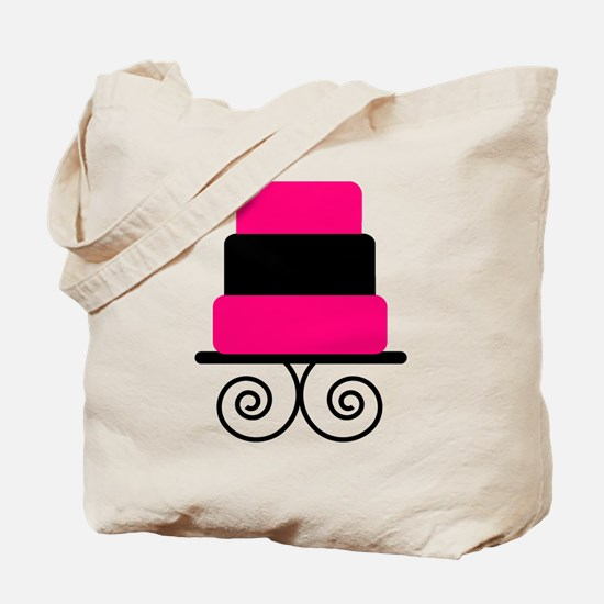 Hot Pink and Black Cake Tote Bag
