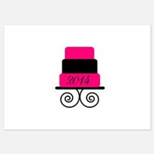 Personalizable Pink and Black Wedding Cake Invitat