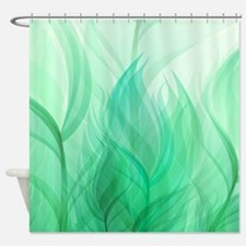 Beautiful Teal Green Feather Leaf Shower Curtain
