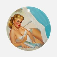 Pin Up Girl, Reading, Beach, Vintag Round Ornament