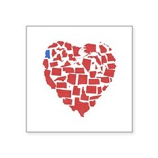 "Mississippi Heart Square Sticker 3"" x 3"""