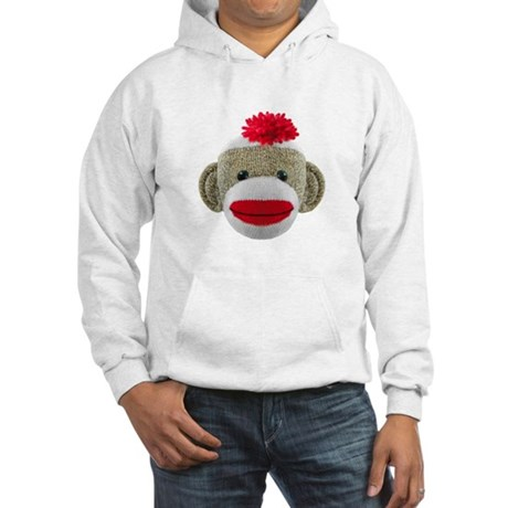 Sock Monkey Face Hooded Sweatshirt