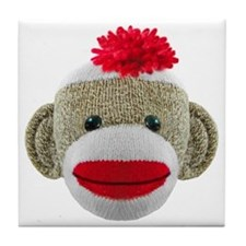 Sock Monkey Face Tile Coaster