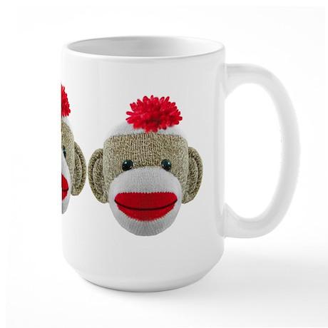 Sock Monkey Face Large Mug