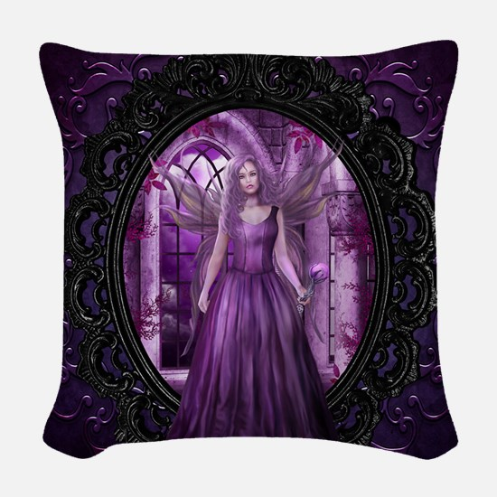 Lavender Fairy Woven Throw Pillow