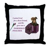 Doberman pinscher best friend Throw Pillows