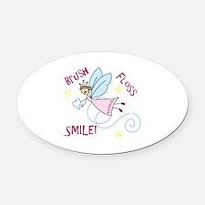 Brush Floss Smile Oval Car Magnet