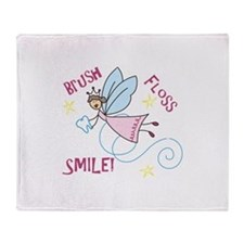 Brush Floss Smile Throw Blanket