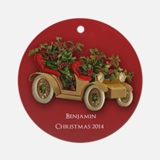 Personalized Antique Car With Ornament (round)