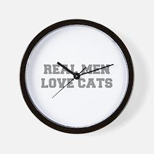 real-men-love-cats-FRESH-GRAY Wall Clock