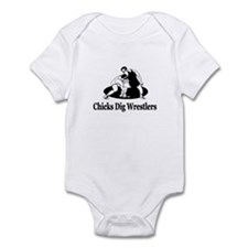 """Chicks Dig Wrestlers"" Infant Bodysuit"