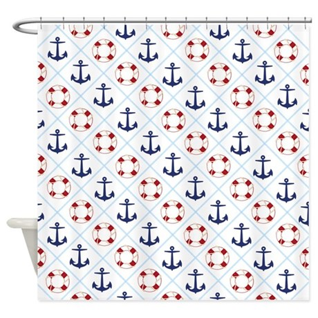 Nautical life savers anchors shower curtain by pixdezines for Shower curtain savers
