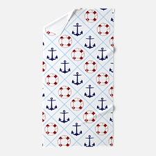Nautical, life savers+anchors Beach Towel