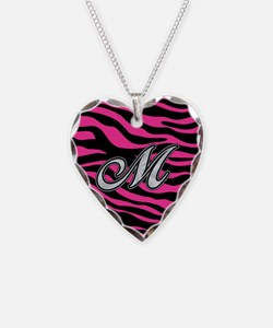 HOT PINK ZEBRA SILVER M Necklace